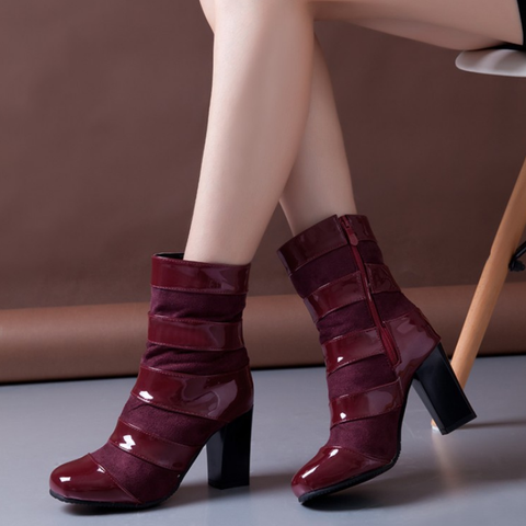 Stylish Plain Women High Heel PU Boots