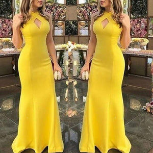 Sexy Halter Plain Slim Evening Dress