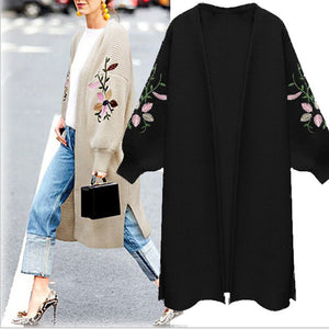Knit Cardigan Loose Long Embroidered Sweater