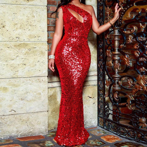 Sexy Sequins Pure Colour Sloping Shoulder Evening Dress