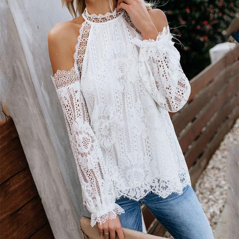 NEWTATU Elegant Lace Long Sleeve Off-Shoulder Blouses