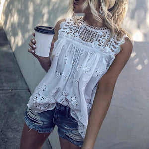 Casual Lace Round Neck Sleeveless Hollow Out See-Through Elastic Blouses
