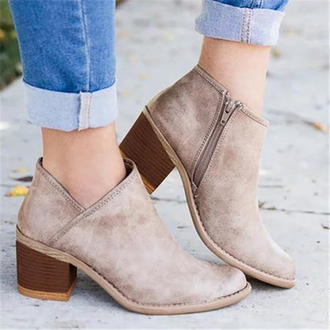 Leisure Zipper Booties Buckle Martin Boots