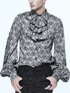 Men's Vintage Bubble Sleeves Turndown Collar Single-Breasted Printed Color Shirt