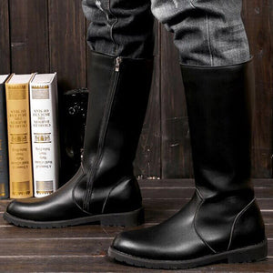 Zipper High Tube Pointed Toe Men Boots