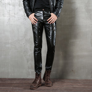 Fashion Slim Personality Hip Hop Small Leather Pants