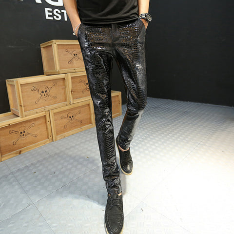 Casual Punk Solid Color Slim Stitching Leather Pants