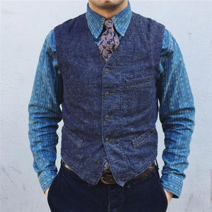 Men's Work Single Breasted Denim Vest