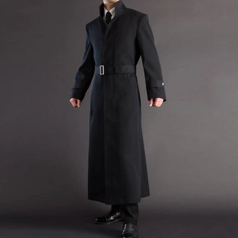 Design Solid Color Belt Long Sleeve Long Coat
