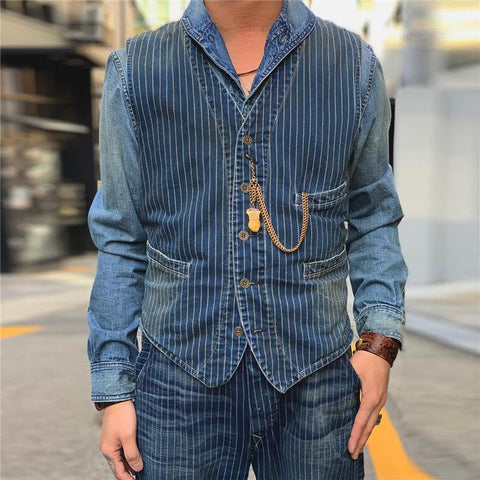Men's V-Neck Striped Vest