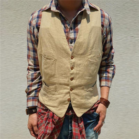 Men's Pocket Solid Color Vest