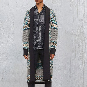 Fashion Printed Colour Knee-Length Cardigan Coat