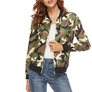 Fashion Long Sleeve Camouflage Pattern Printed Colour Jacket
