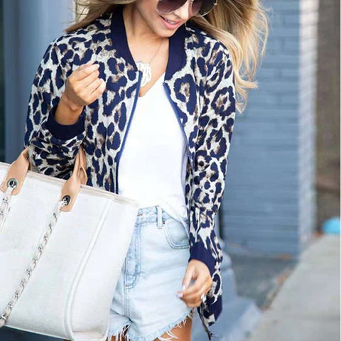 Fashion Long Sleeve Leopard Print Jacket
