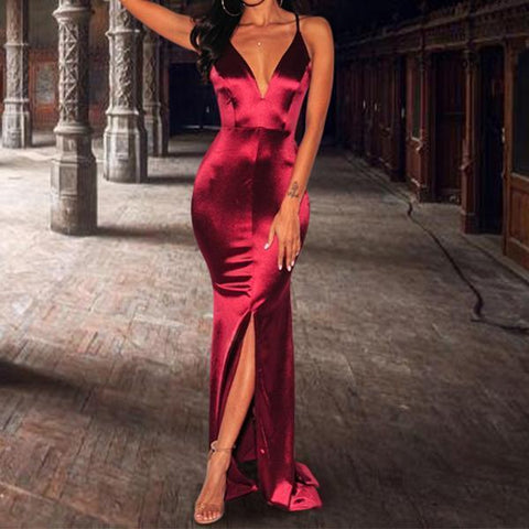 Sexy Plain Sleeveless Evening Dress