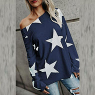 One Shoulder  Printed Star T-Shirts