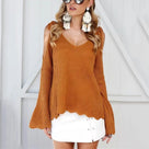 Fashion V-Neck Shoulder Knit Sweater