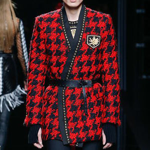 Fashion Rivet Contrast Color Plaid Coat