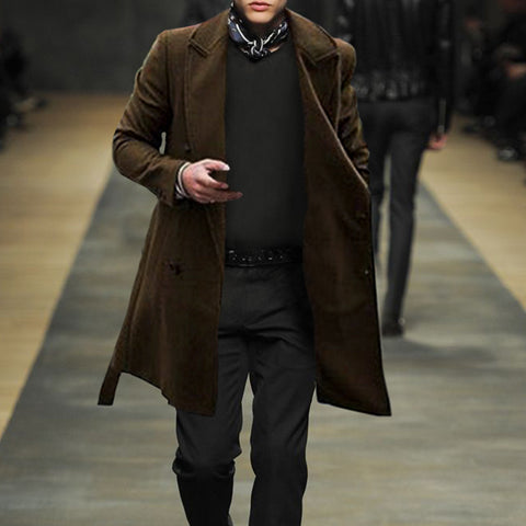Simple Solid Color Lapel Men's coat
