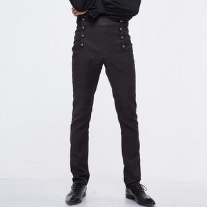 Fashion Men's Solid Color Decorative Buckle Trousers
