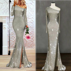 One-Shoulder Irregular Long Evening Dress