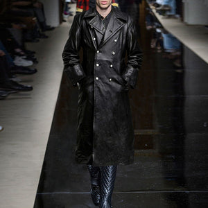 Vintage Autumn Winter Leather Men's Medieval Coat