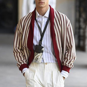 Men's Fashion Stripe Loose Jacket