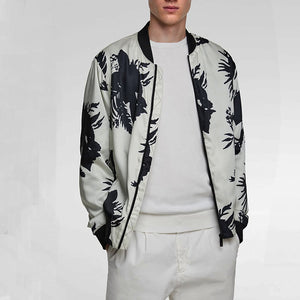Fashion Contrast Color Printed Zipper Jacket