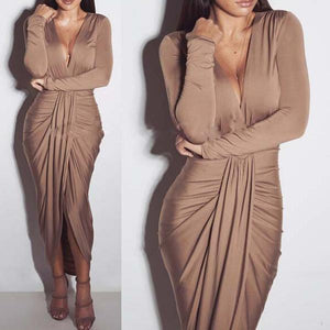 V-Neck Long-Sleeved Plus Cotton Sexy Fashion Pleated Nightclub Dress