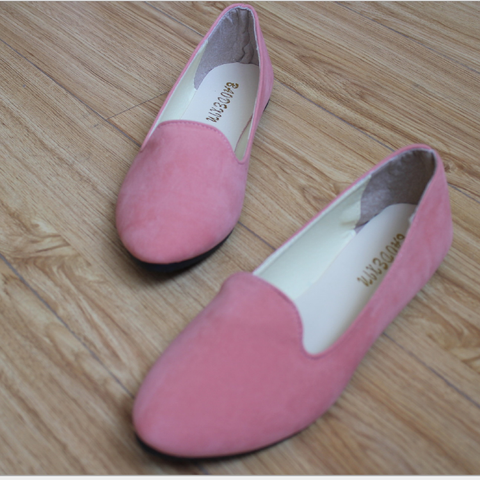 Big Size Suede Round Toe Flat Casuals & Loafers