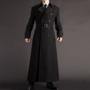 Fashion Double-Breasted Pure Color Long Sleeve Belted Coat