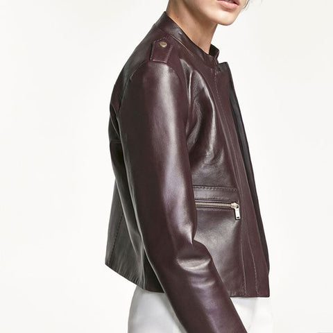 Casual Brief Stand-Up Collar Short Leather Jacket