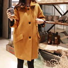 Fold-Over Collar  Single Breasted  Plain  Long Sleeve Coats