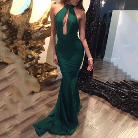 Sexy Green Plain Hanging Neck Bandage Evening Dress