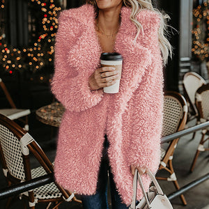 Mid-Length Lapel Faux Furry Ladies Wool Outwear