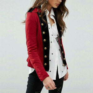 Stylish Stand-Up Collar Zippered Patchwork Coat