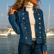 Stylish Double-Breasted Denim Jacket