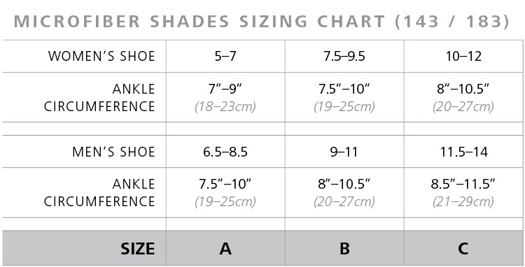 Sigvaris Microfiber Mini-Stripes Shades Size Chart