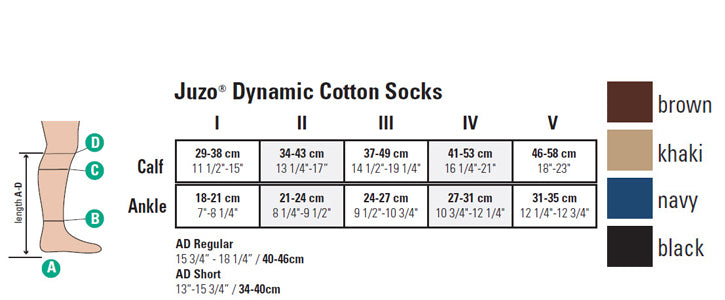 Juzo Dynamic Cotton Sock size chart