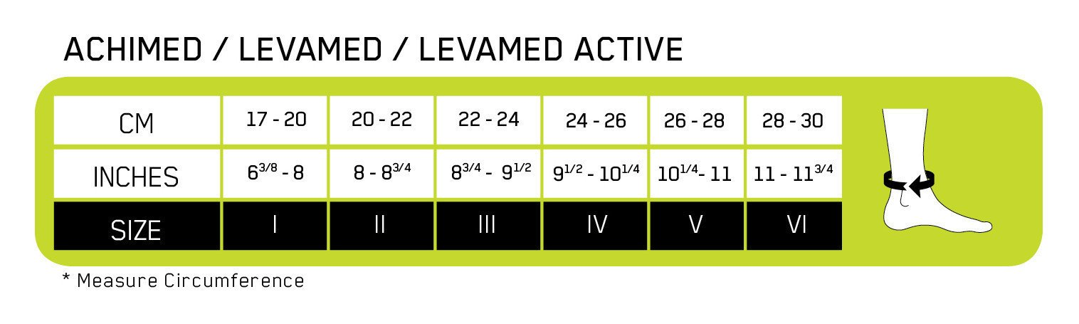 LevaMed Active Ankle Size Chart