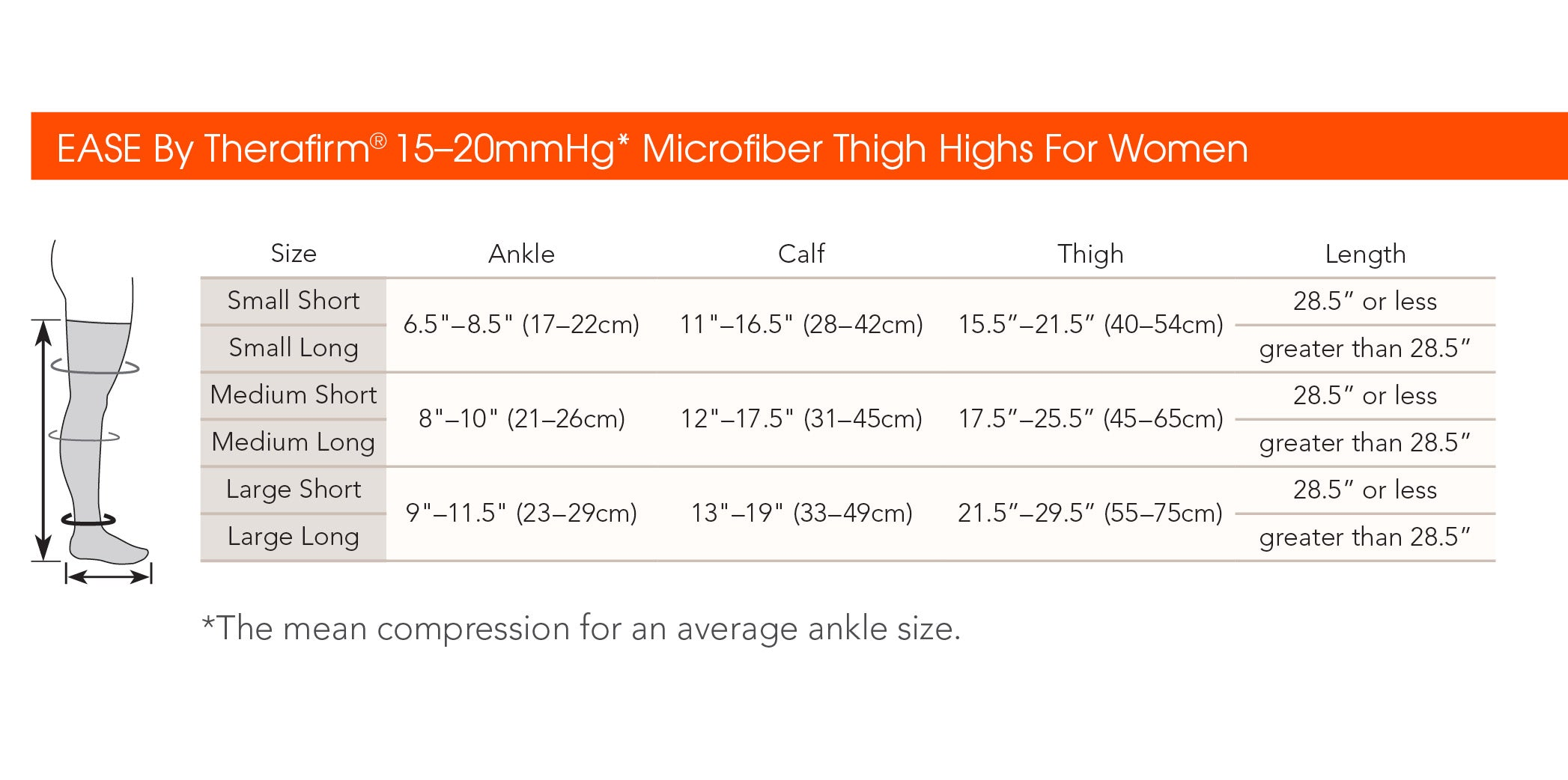 Ease Microfiber Thigh High Size Chart