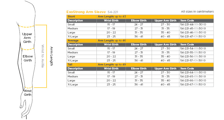 solaris ExoStrong armsleeve size chart