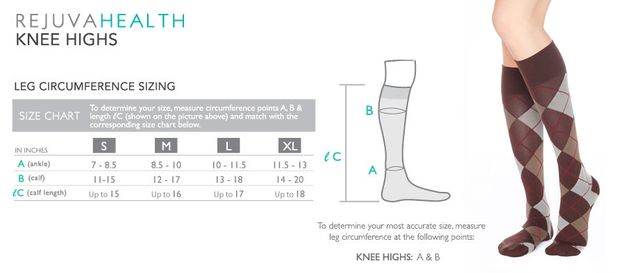 Rejuvahealth Sheer Dot Knee Size Chart