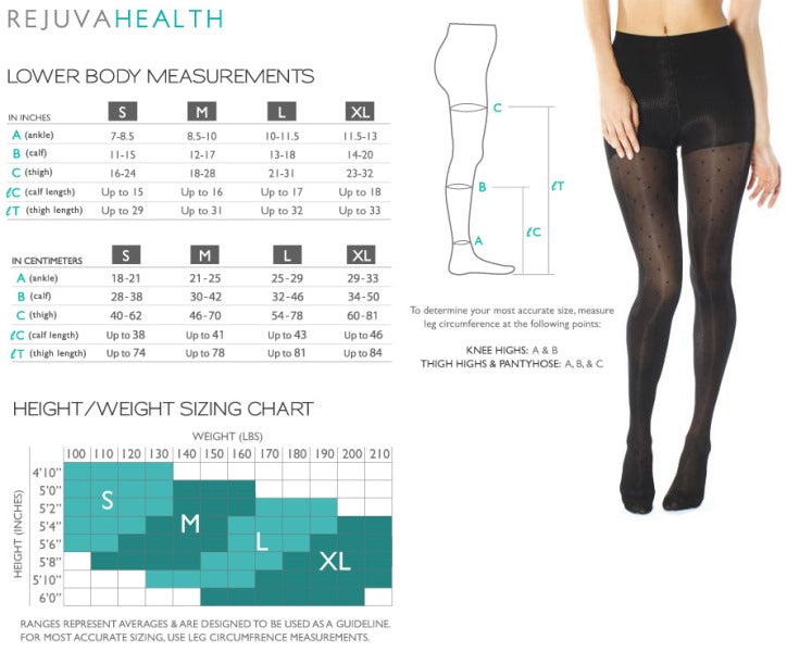 Rejuvahealth Compression Legging Size Chart