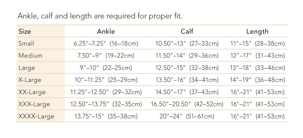 Therafirm Opaque knee high size chart