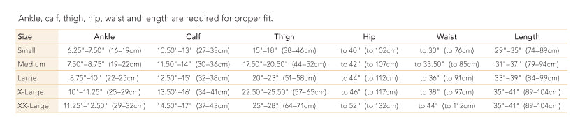 therafirm support pantyhose 20-30 size chart