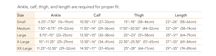 Therafirm support thigh high size chart