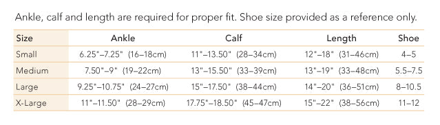Therafirm trouser sock size chart