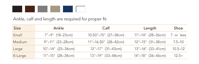 Therafirm Men's Support Sock size chart