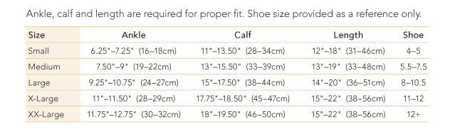 Therafirm Sheer Knee High size chart